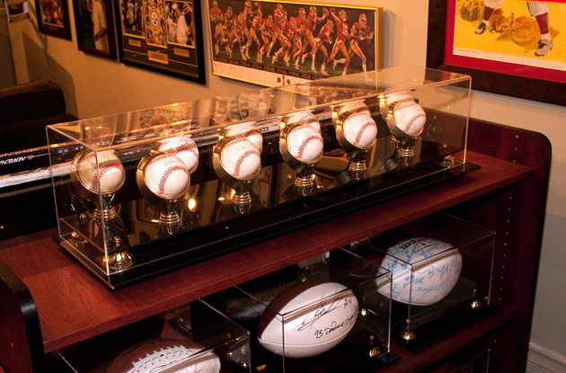 Signed Ball Display at Lipary Collectibles